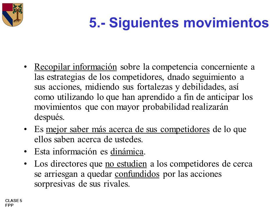 CLASE 5 FPP 5.- Siguientes movimientos Recopilar información sobre la competencia concerniente a las estrategias de los competidores, dnado seguimient