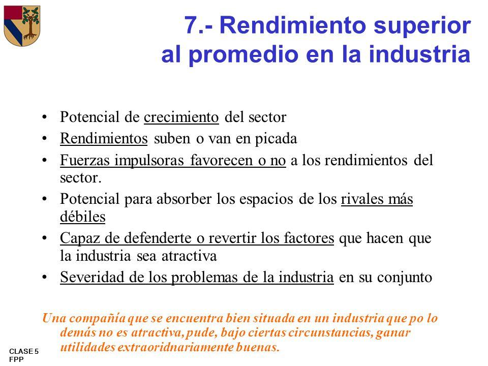 CLASE 5 FPP 7.- Rendimiento superior al promedio en la industria Potencial de crecimiento del sector Rendimientos suben o van en picada Fuerzas impuls