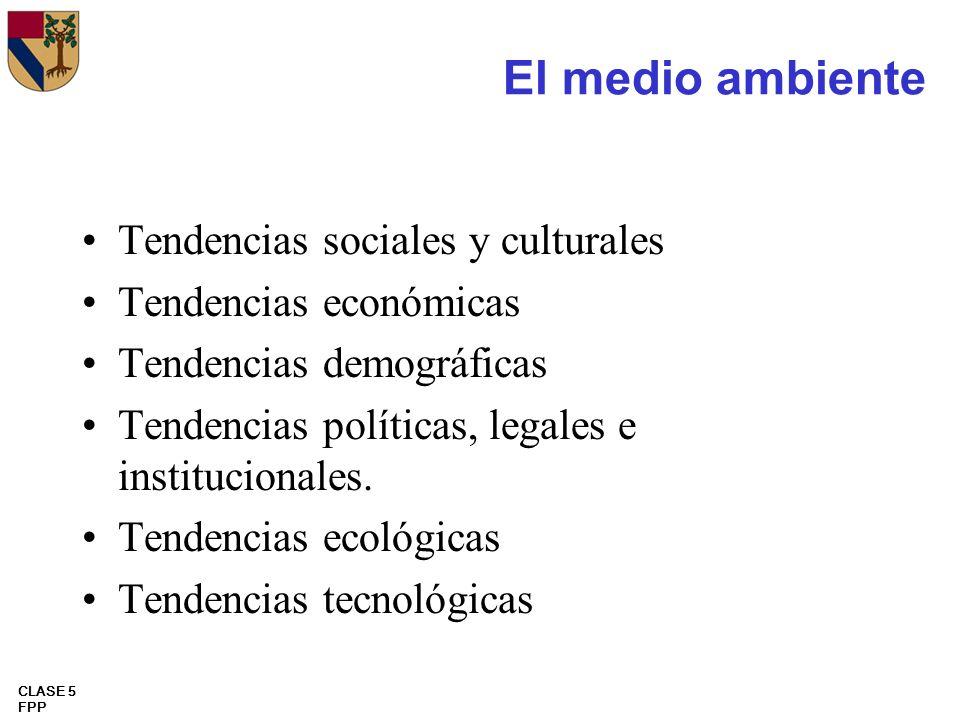 CLASE 5 FPP El medio ambiente Tendencias sociales y culturales Tendencias económicas Tendencias demográficas Tendencias políticas, legales e instituci