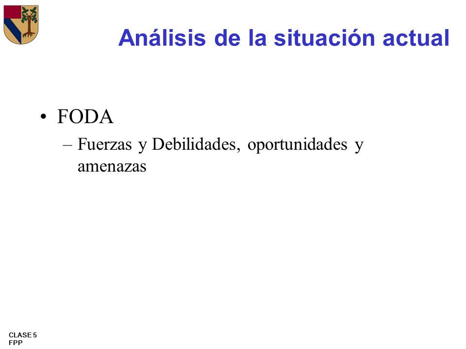 CLASE 5 FPP Análisis de la situación actual FODA –Fuerzas y Debilidades, oportunidades y amenazas