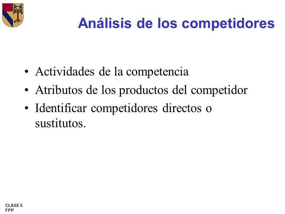 CLASE 5 FPP Análisis de los competidores Actividades de la competencia Atributos de los productos del competidor Identificar competidores directos o s