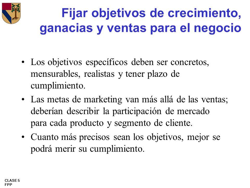 CLASE 5 FPP Fijar objetivos de crecimiento, ganacias y ventas para el negocio Los objetivos específicos deben ser concretos, mensurables, realistas y