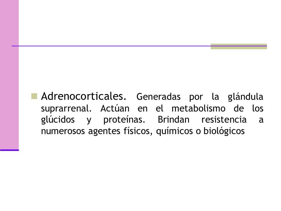 Adrenocorticales.Generadas por la glándula suprarrenal.