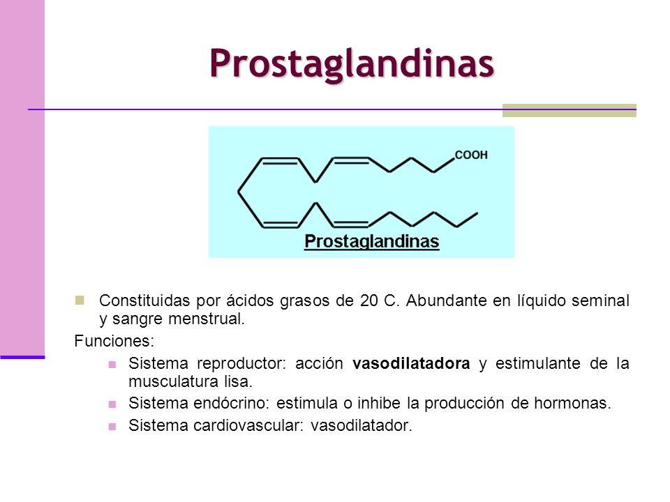 Prostaglandinas Constituidas por ácidos grasos de 20 C.