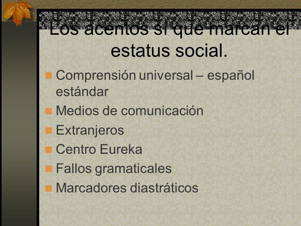 Los acentos sí que marcan el estatus social. Comprensión universal – español estándar Medios de comunicación Extranjeros Centro Eureka Fallos gramatic