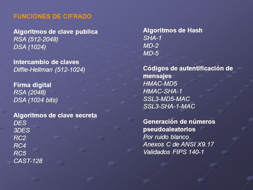FUNCIONES DE CIFRADO Algoritmos de clave publica RSA (512-2048) DSA (1024) Intercambio de claves Diffie-Hellman (512-1024) Firma digital RSA (2048) DS