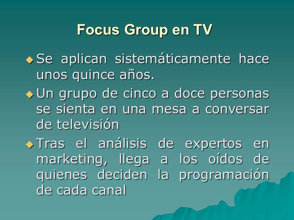 Focus Group en TV Se aplican sistemáticamente hace unos quince años. Se aplican sistemáticamente hace unos quince años. Un grupo de cinco a doce perso