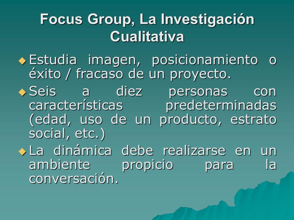 Focus Group, La Investigación Cualitativa Estudia imagen, posicionamiento o éxito / fracaso de un proyecto. Estudia imagen, posicionamiento o éxito /