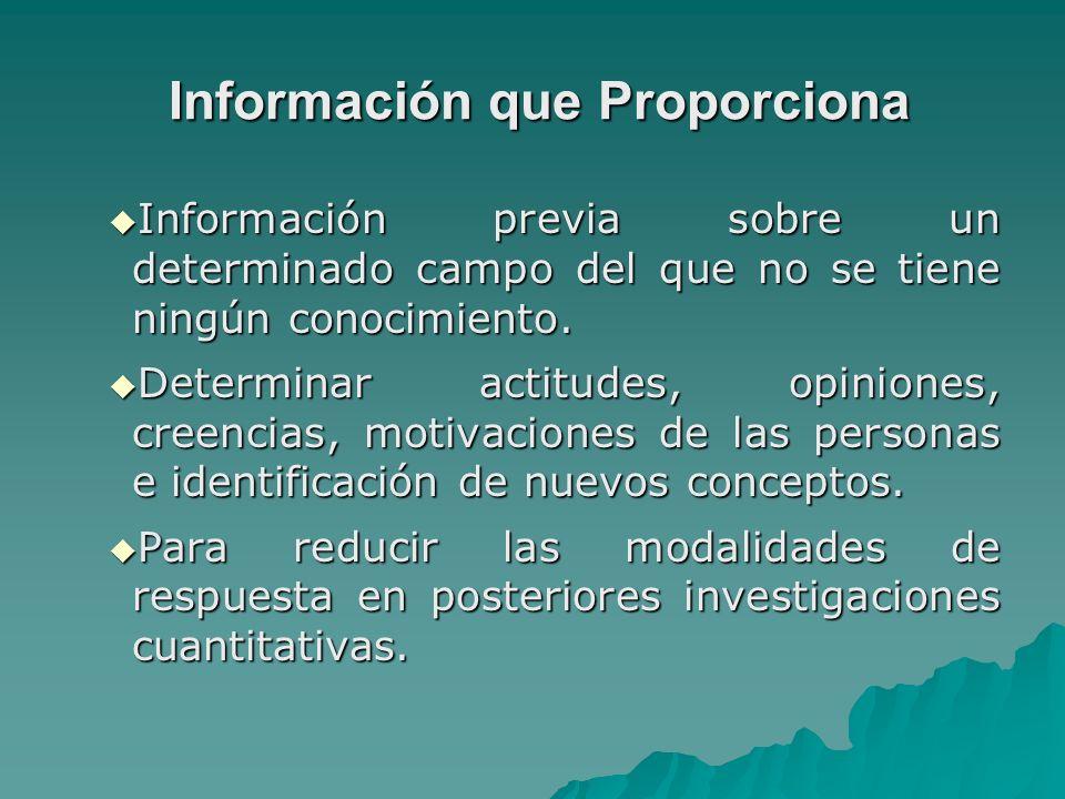 Información que Proporciona Información que Proporciona Información previa sobre un determinado campo del que no se tiene ningún conocimiento. Informa