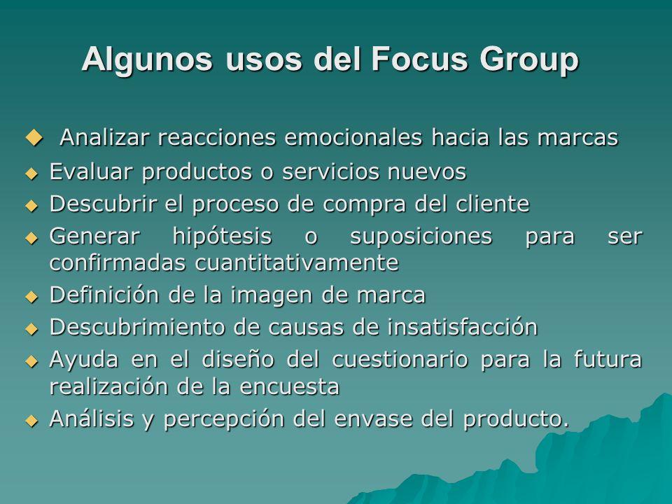Algunos usos del Focus Group Analizar reacciones emocionales hacia las marcas Analizar reacciones emocionales hacia las marcas Evaluar productos o ser