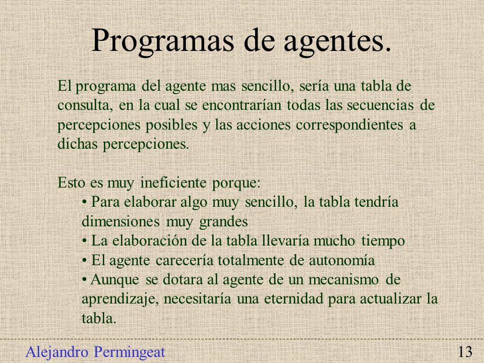 Alejandro Permingeat 13 El programa del agente mas sencillo, sería una tabla de consulta, en la cual se encontrarían todas las secuencias de percepcio