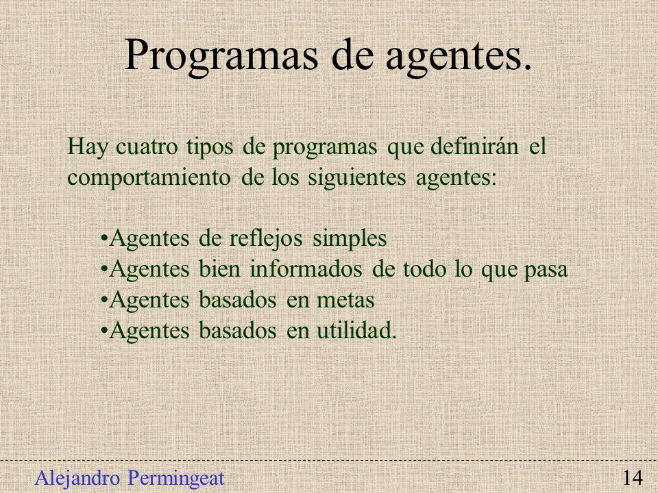 Alejandro Permingeat 14 Hay cuatro tipos de programas que definirán el comportamiento de los siguientes agentes: Agentes de reflejos simples Agentes b