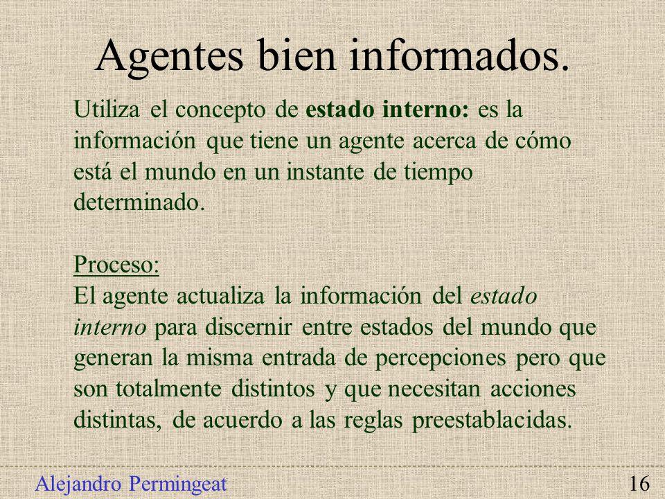 Alejandro Permingeat 16 Utiliza el concepto de estado interno: es la información que tiene un agente acerca de cómo está el mundo en un instante de ti