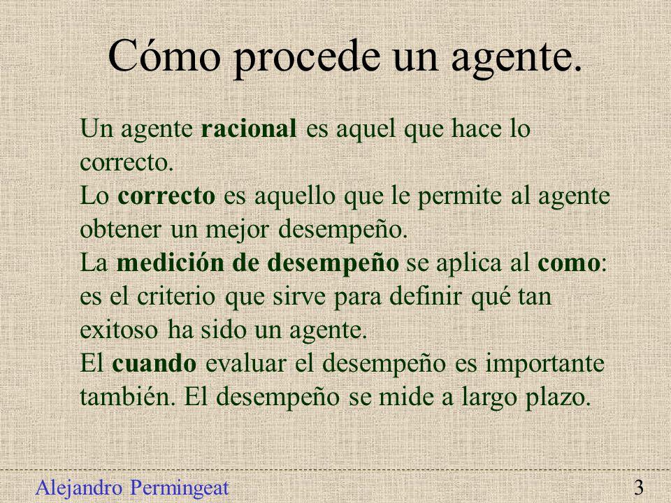 Alejandro Permingeat 3 Un agente racional es aquel que hace lo correcto. Lo correcto es aquello que le permite al agente obtener un mejor desempeño. L