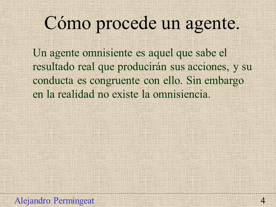 Alejandro Permingeat 4 Un agente omnisiente es aquel que sabe el resultado real que producirán sus acciones, y su conducta es congruente con ello. Sin