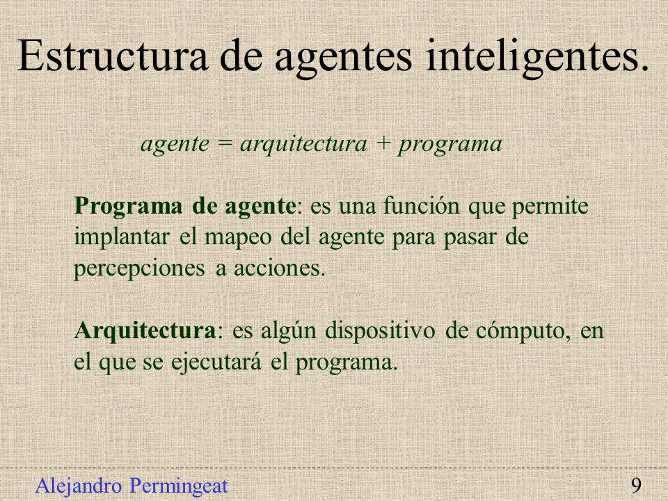 Alejandro Permingeat 9 agente = arquitectura + programa Programa de agente: es una función que permite implantar el mapeo del agente para pasar de per