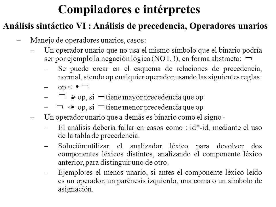 Análisis sintáctico VI : Análisis de precedencia, Operadores unarios Compiladores e intérpretes –Manejo de operadores unarios, casos: –Un operador unario que no usa el mismo símbolo que el binario podría ser por ejemplo la negación lógica (NOT, !), en forma abstracta: –Se puede crear en el esquema de relaciones de precedencia, normal, siendo op cualquier operador,usando las siguientes reglas: –op < – > op, si tiene mayor precedencia que op – < op, si tiene menor precedencia que op –Un operador unario que a demás es binario como el signo - –El análisis debería fallar en casos como : id*-id, mediante el uso de la tabla de precedencia.