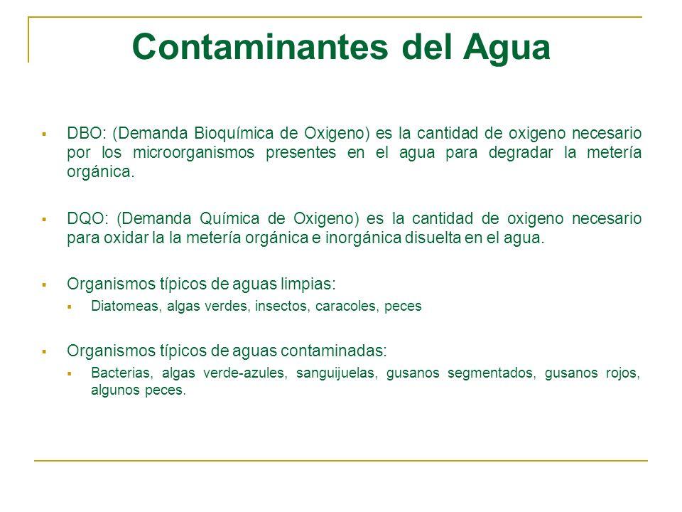 Contaminantes del Agua DBO: (Demanda Bioquímica de Oxigeno) es la cantidad de oxigeno necesario por los microorganismos presentes en el agua para degr