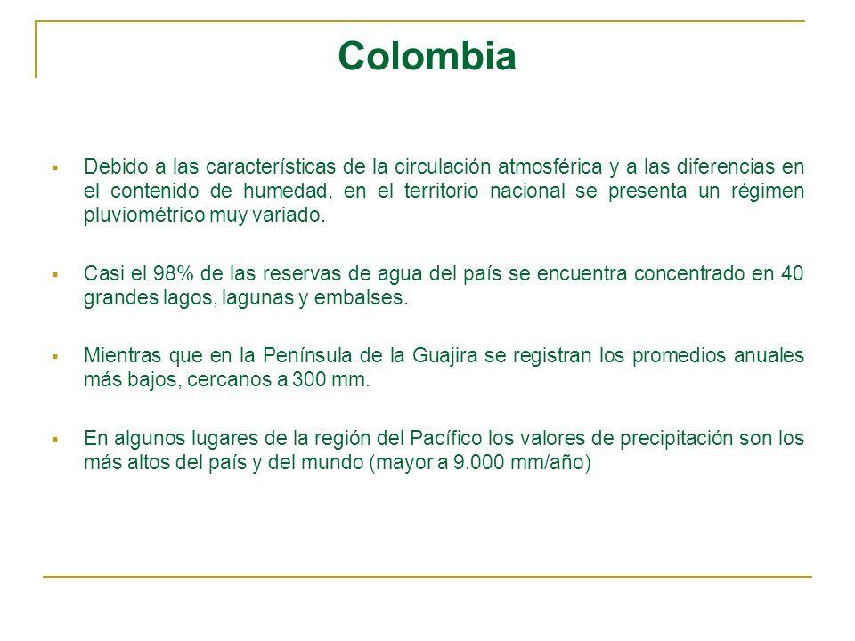 Colombia Debido a las características de la circulación atmosférica y a las diferencias en el contenido de humedad, en el territorio nacional se prese