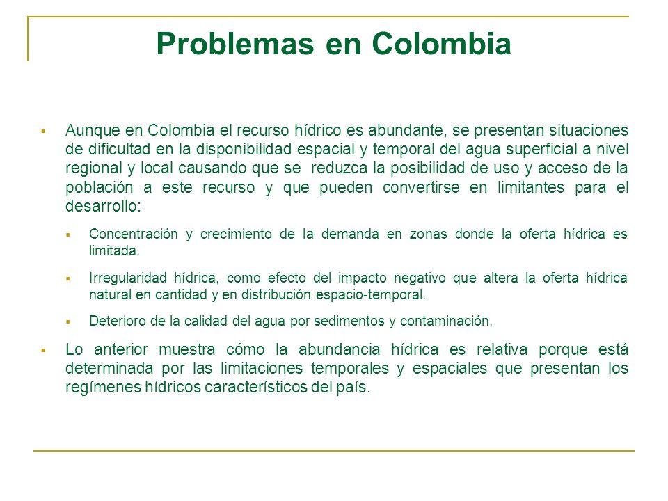 Problemas en Colombia Aunque en Colombia el recurso hídrico es abundante, se presentan situaciones de dificultad en la disponibilidad espacial y tempo