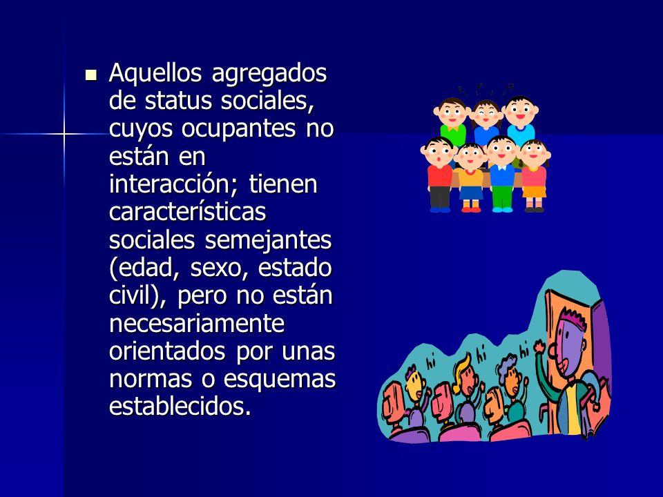 Aquellos agregados de status sociales, cuyos ocupantes no están en interacción; tienen características sociales semejantes (edad, sexo, estado civil),