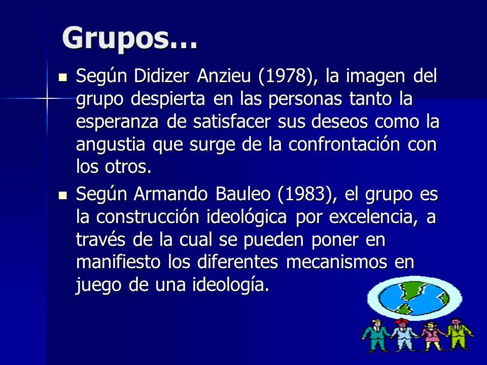 Grupos… Según Didizer Anzieu (1978), la imagen del grupo despierta en las personas tanto la esperanza de satisfacer sus deseos como la angustia que su