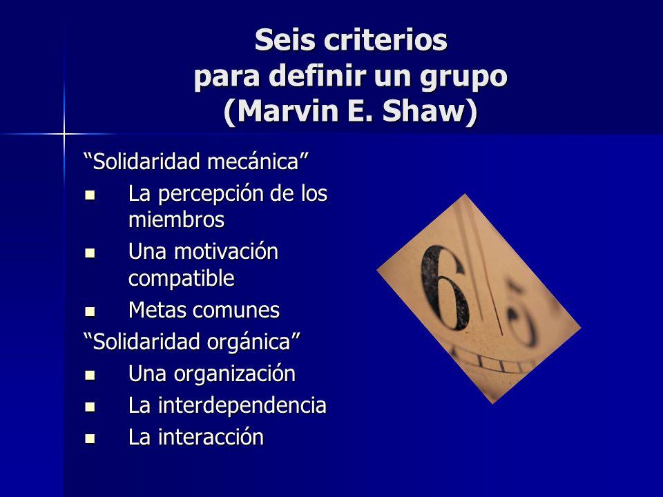 Seis criterios para definir un grupo (Marvin E. Shaw) Solidaridad mecánica La percepción de los miembros La percepción de los miembros Una motivación