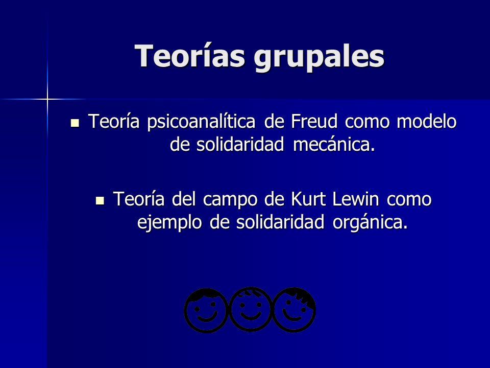 Teorías grupales Teoría psicoanalítica de Freud como modelo de solidaridad mecánica. Teoría psicoanalítica de Freud como modelo de solidaridad mecánic