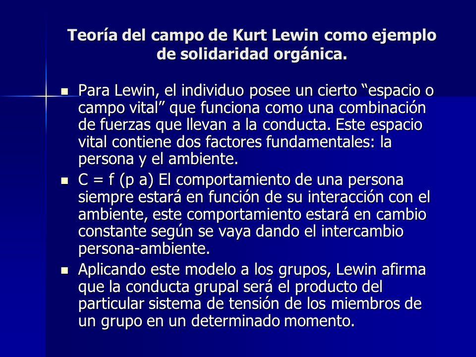 Teoría del campo de Kurt Lewin como ejemplo de solidaridad orgánica. Para Lewin, el individuo posee un cierto espacio o campo vital que funciona como