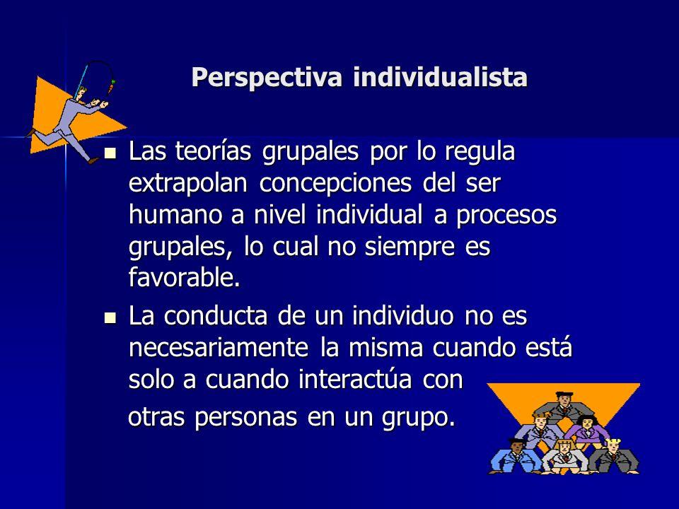 Perspectiva individualista Las teorías grupales por lo regula extrapolan concepciones del ser humano a nivel individual a procesos grupales, lo cual n