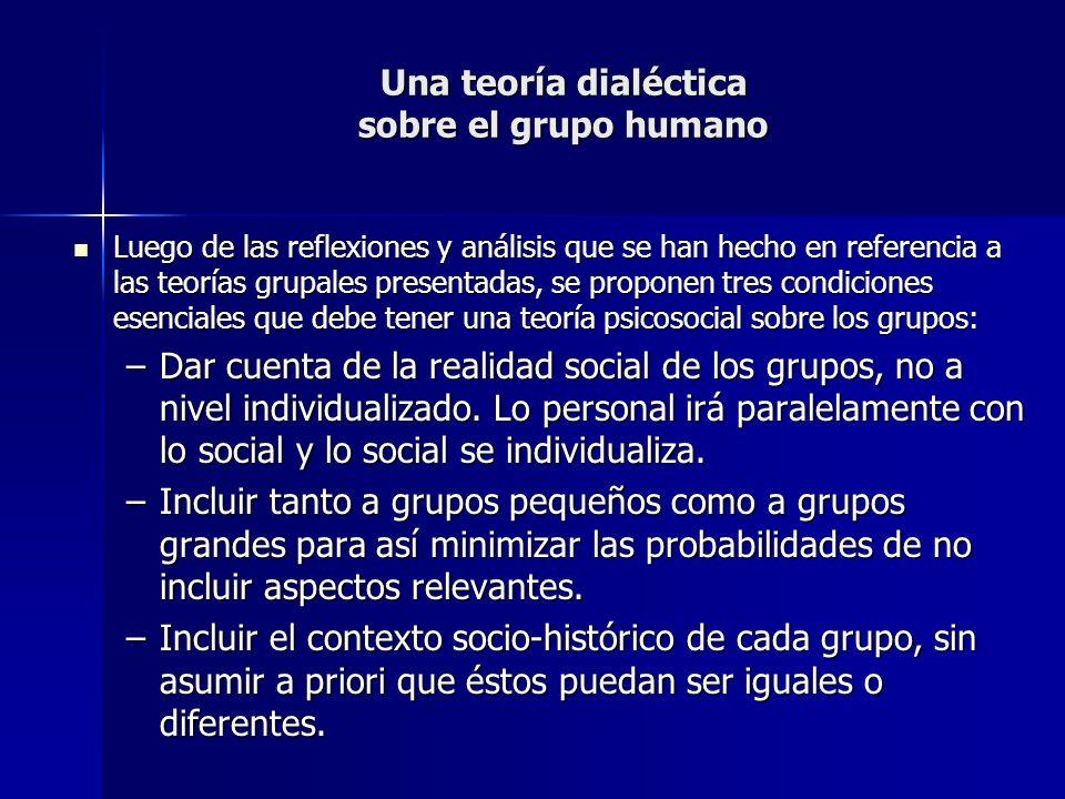 Una teoría dialéctica sobre el grupo humano Luego de las reflexiones y análisis que se han hecho en referencia a las teorías grupales presentadas, se