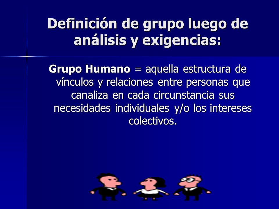 Definición de grupo luego de análisis y exigencias: Grupo Humano = aquella estructura de vínculos y relaciones entre personas que canaliza en cada cir
