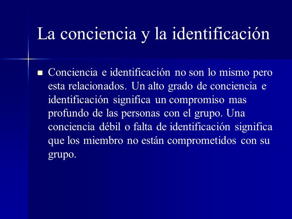 La conciencia y la identificación Conciencia e identificación no son lo mismo pero esta relacionados. Un alto grado de conciencia e identificación sig