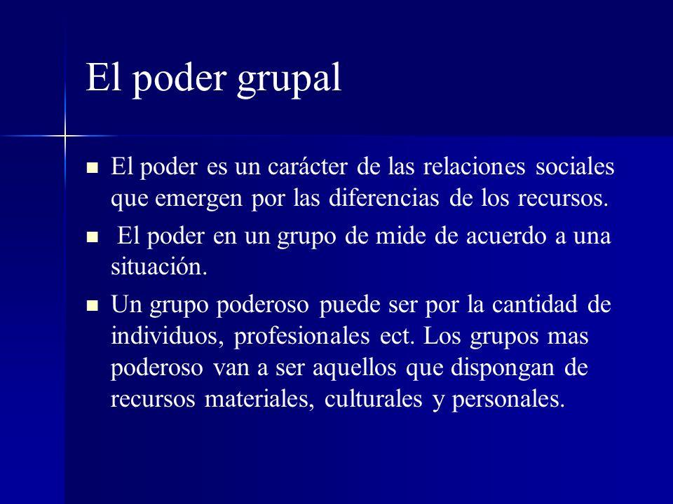 El poder grupal El poder es un carácter de las relaciones sociales que emergen por las diferencias de los recursos. El poder en un grupo de mide de ac