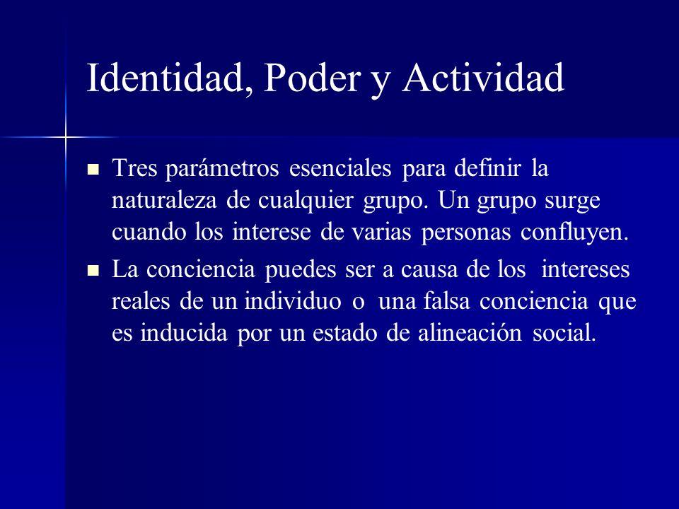 Identidad, Poder y Actividad Tres parámetros esenciales para definir la naturaleza de cualquier grupo. Un grupo surge cuando los interese de varias pe