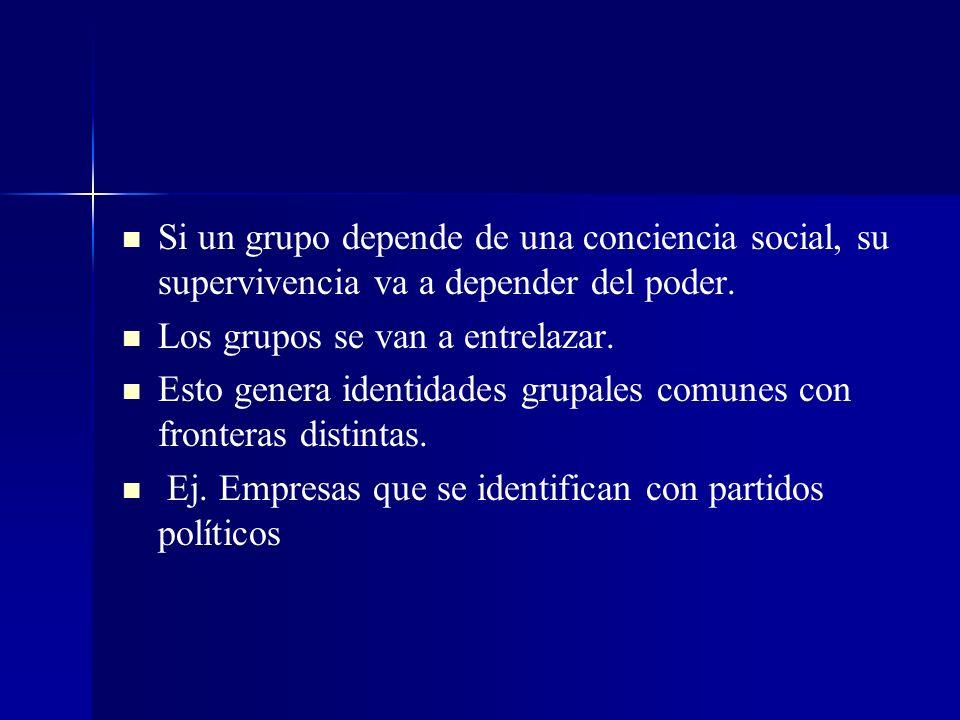 Si un grupo depende de una conciencia social, su supervivencia va a depender del poder. Los grupos se van a entrelazar. Esto genera identidades grupal