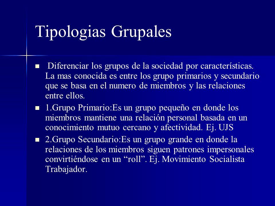 Tipologias Grupales Diferenciar los grupos de la sociedad por características. La mas conocida es entre los grupo primarios y secundario que se basa e