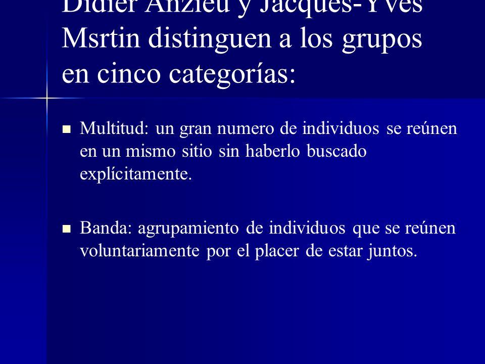 Didier Anzieu y Jacques-Yves Msrtin distinguen a los grupos en cinco categorías: Multitud: un gran numero de individuos se reúnen en un mismo sitio si