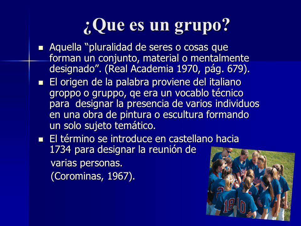 ¿Que es un grupo? Aquella pluralidad de seres o cosas que forman un conjunto, material o mentalmente designado. (Real Academia 1970, pág. 679). Aquell