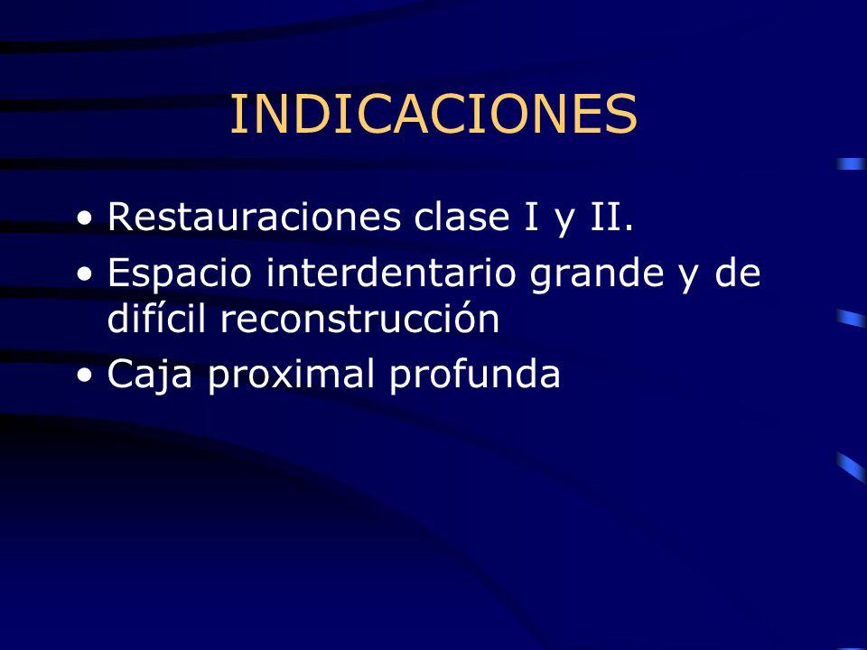 INDICACIONES Restauraciones clase I y II. Espacio interdentario grande y de difícil reconstrucción Caja proximal profunda