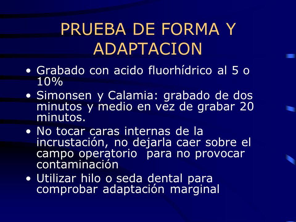 PRUEBA DE FORMA Y ADAPTACION Grabado con acido fluorhídrico al 5 o 10% Simonsen y Calamia: grabado de dos minutos y medio en vez de grabar 20 minutos.