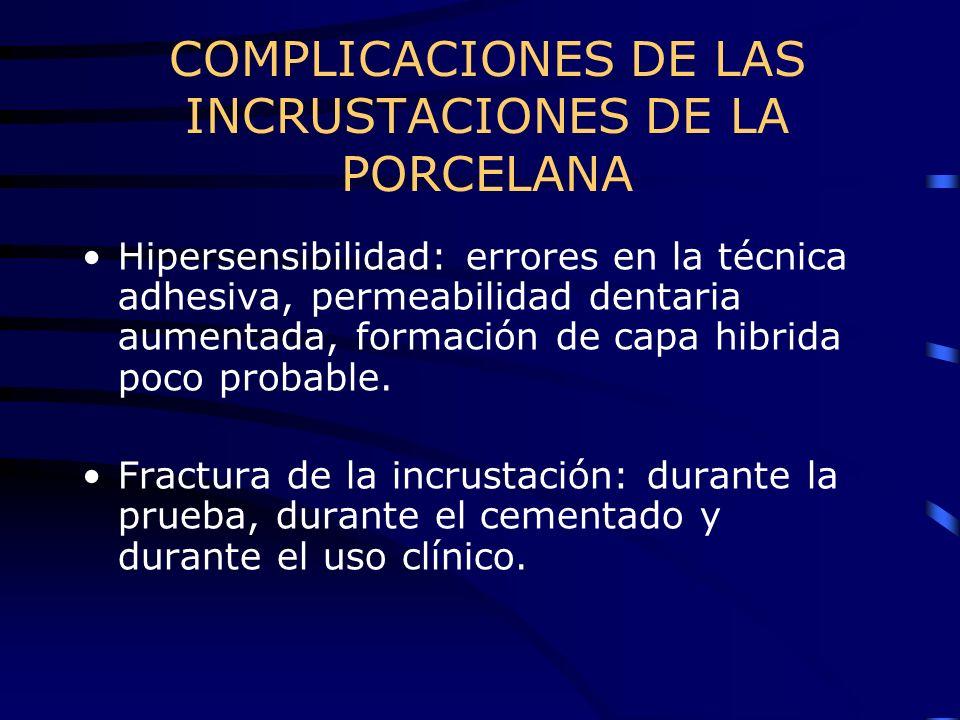 COMPLICACIONES DE LAS INCRUSTACIONES DE LA PORCELANA Hipersensibilidad: errores en la técnica adhesiva, permeabilidad dentaria aumentada, formación de