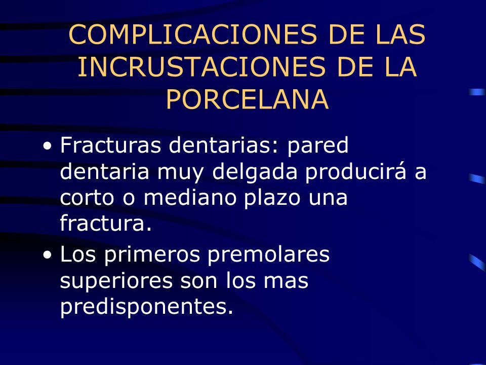 COMPLICACIONES DE LAS INCRUSTACIONES DE LA PORCELANA Fracturas dentarias: pared dentaria muy delgada producirá a corto o mediano plazo una fractura. L
