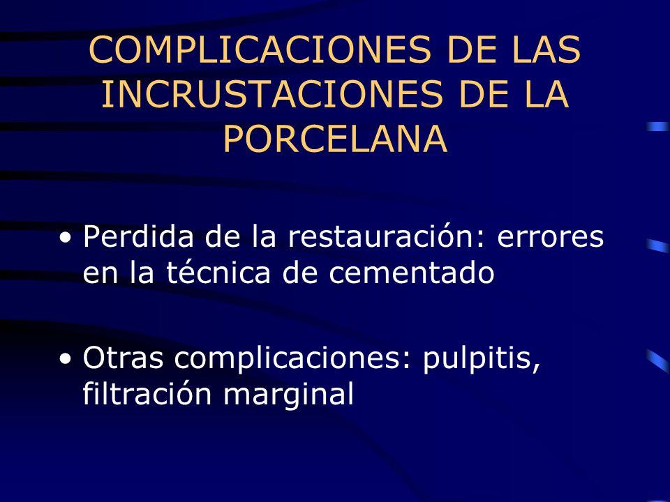 COMPLICACIONES DE LAS INCRUSTACIONES DE LA PORCELANA Perdida de la restauración: errores en la técnica de cementado Otras complicaciones: pulpitis, fi