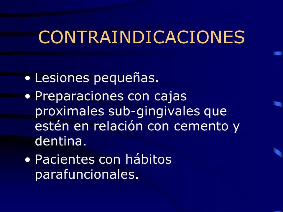 CONTRAINDICACIONES Lesiones pequeñas. Preparaciones con cajas proximales sub-gingivales que estén en relación con cemento y dentina. Pacientes con háb
