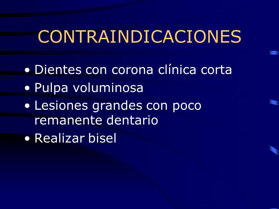 CONTRAINDICACIONES Dientes con corona clínica corta Pulpa voluminosa Lesiones grandes con poco remanente dentario Realizar bisel