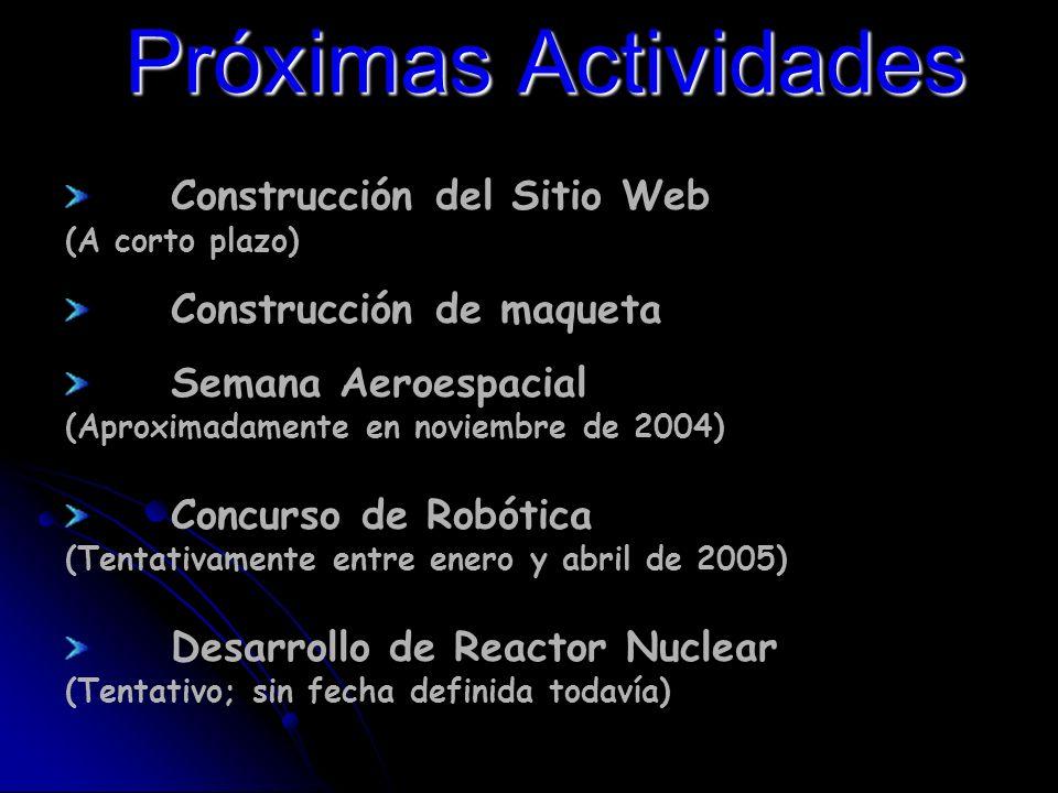 Próximas Actividades Construcción del Sitio Web (A corto plazo) Construcción de maqueta Semana Aeroespacial (Aproximadamente en noviembre de 2004) Concurso de Robótica (Tentativamente entre enero y abril de 2005) Desarrollo de Reactor Nuclear (Tentativo; sin fecha definida todavía)