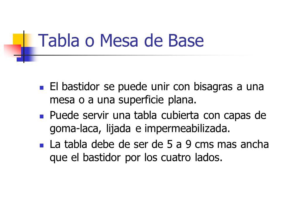 Tabla o Mesa de Base El bastidor se puede unir con bisagras a una mesa o a una superficie plana. Puede servir una tabla cubierta con capas de goma-lac
