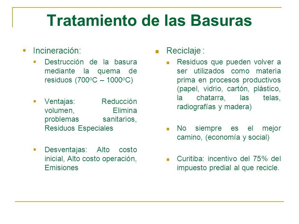 Tratamiento de las Basuras Incineración: Destrucción de la basura mediante la quema de residuos (700 o C – 1000 o C) Ventajas: Reducción volumen, Elim