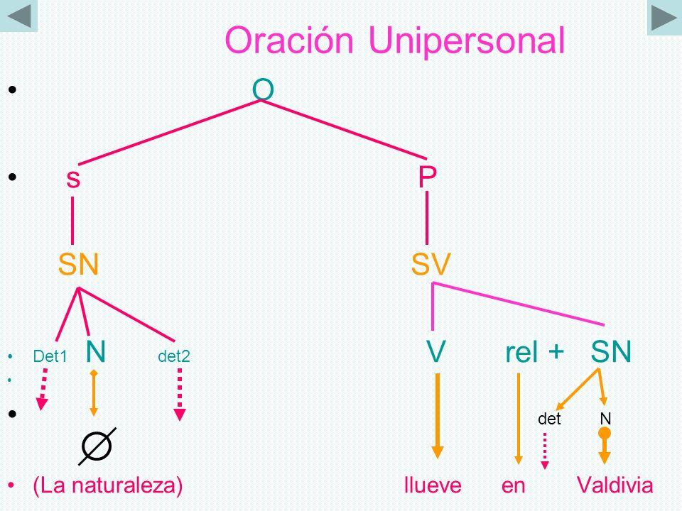 Oración Unipersonal O s P SN SV Det1 N det2 V rel + SN det N (La naturaleza) llueve en Valdivia